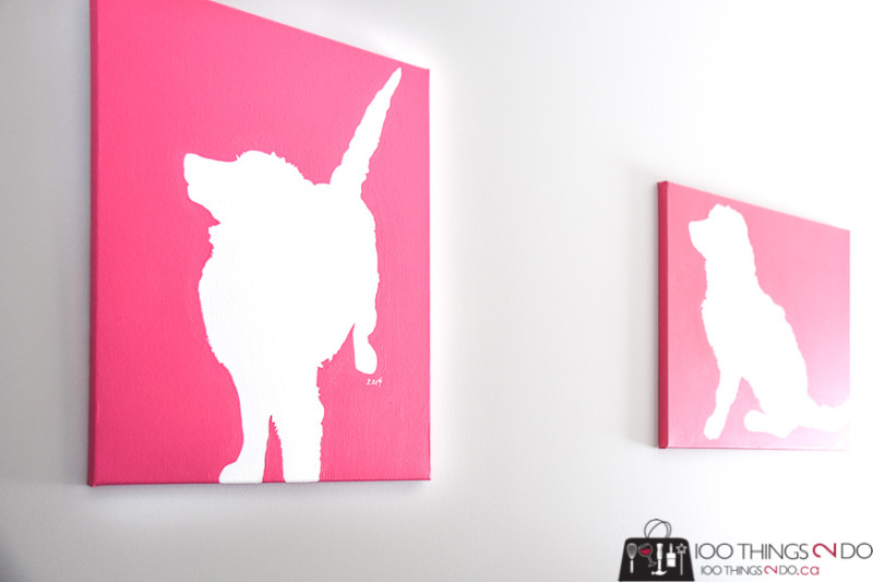 Dogs on canvas, dog art, dog decor, dog silhouette