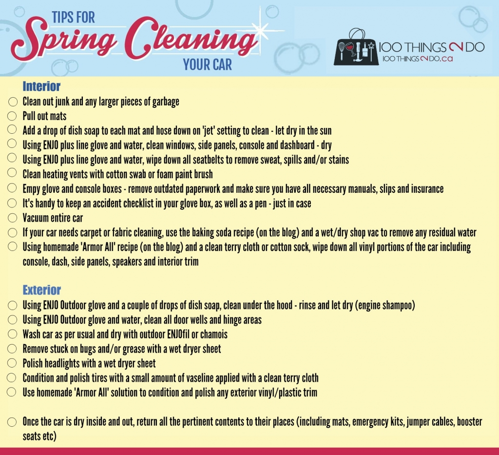 car detailing  home  spring clean checklist