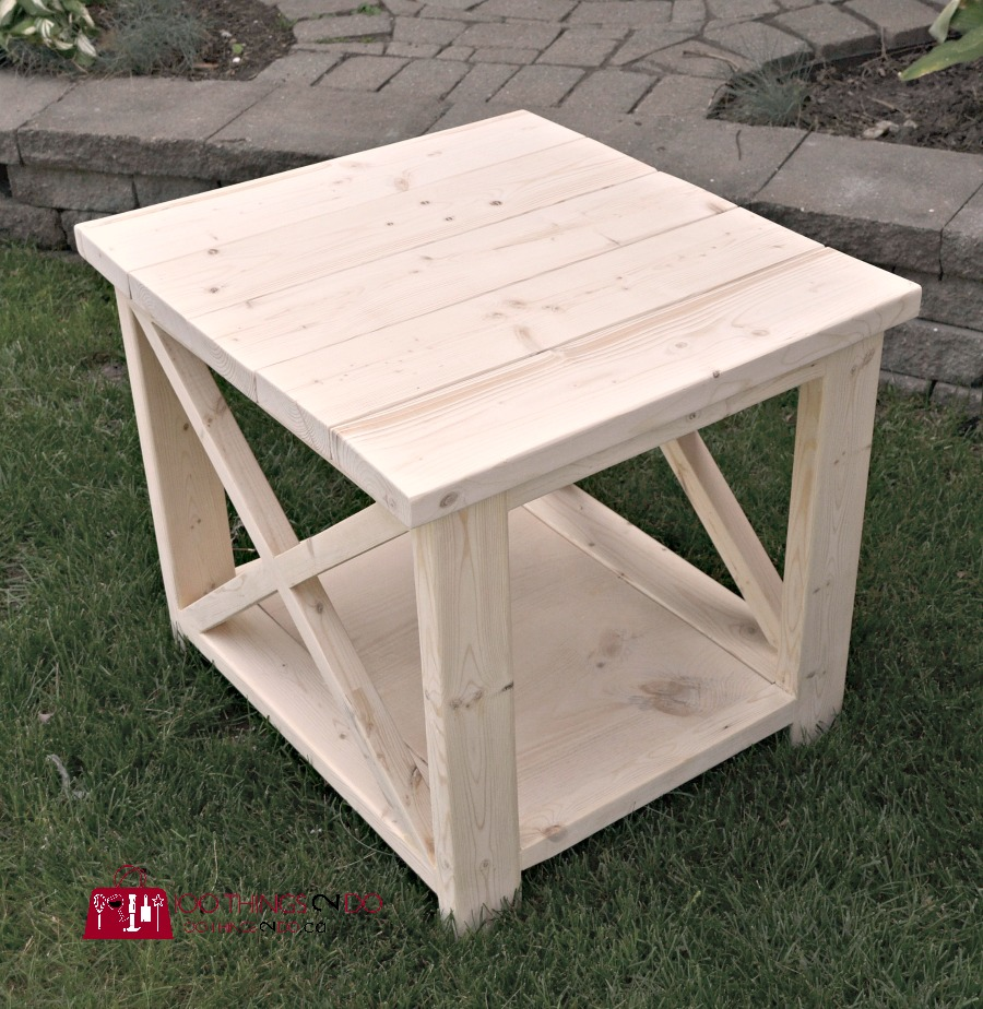 diy rustic x side table 100 things 2 do. Black Bedroom Furniture Sets. Home Design Ideas
