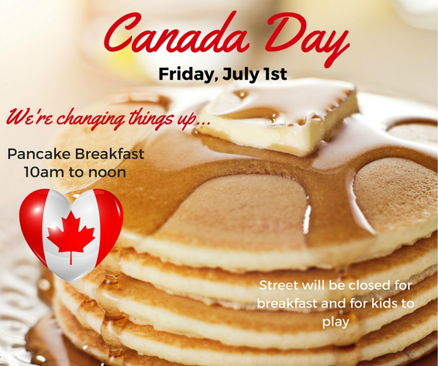 Canada Day - street party invitation, pancake breakfast