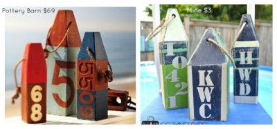 Pottery Barn Knock-off Wooden Buoys, DIY wooden buoys, coastal decor, PB inspired buoys