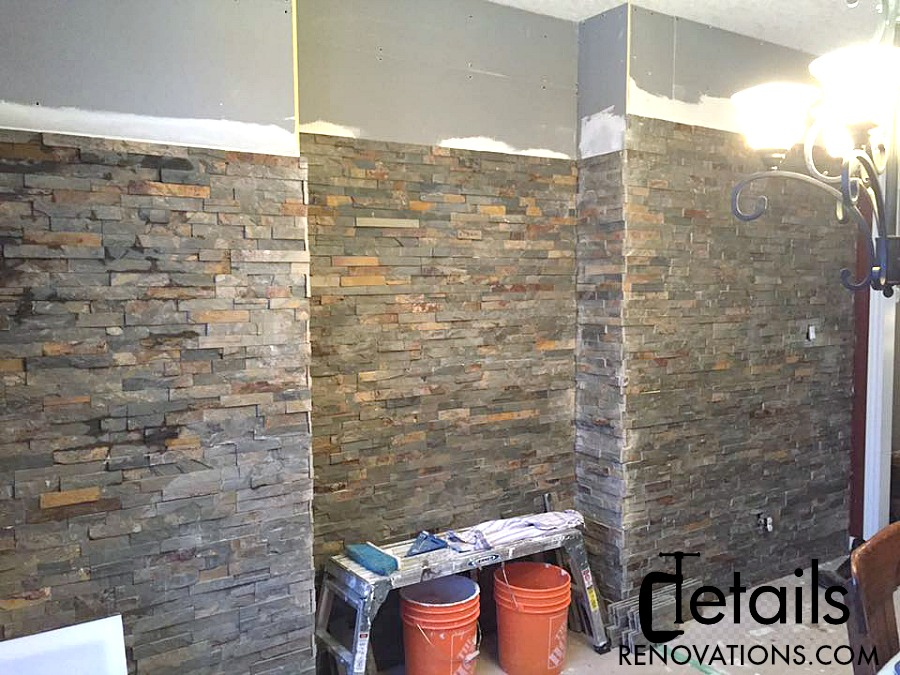 Stone feature wall, Details Renovations, dining room feature wall, faux stone wall