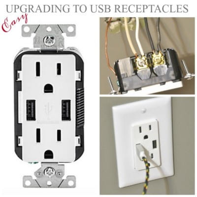 Upgrading to USB receptacles, replacing electrical receptacles, replacing plugs, installing USB plugs