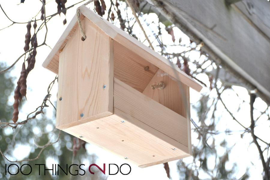 DIY bird feeder, easy bird feeder, $4 bird feeder, homemade bird feeder, scrap wood bird feeder