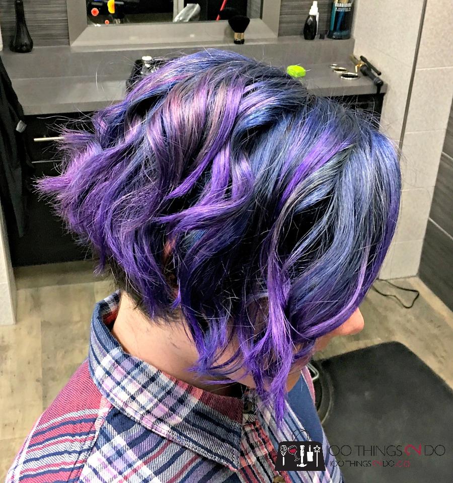 Blue hair, purple hair, blue short hair, purple short hair, coloured hair, tween hairstyle