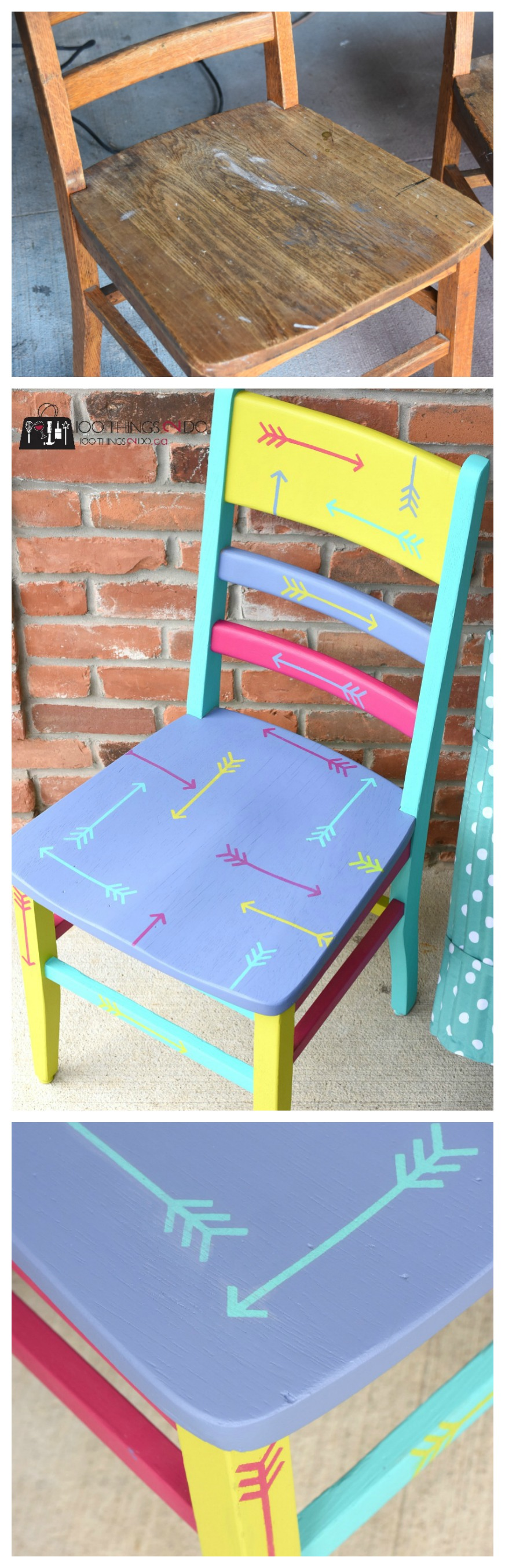 Painted Chair, Chair Makeover, Wood Chair, Hand Painted Chair, Refinished  Chair