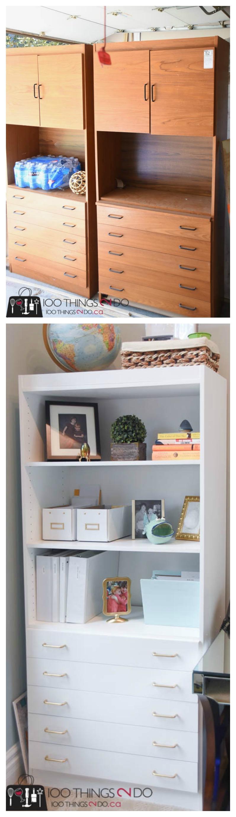 Bookshelf Makeover, Painted Bookshelves, White Bookshelves, Office Storage, Office Shelving,