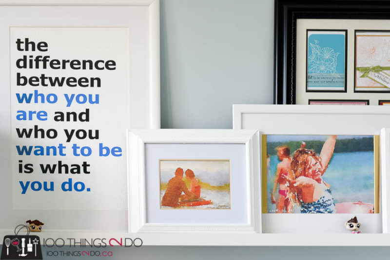 Picture ledge, photo ledge, creating a picture ledge, decorating a picture ledge, how to decorate a photo ledge