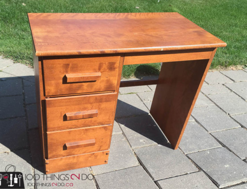 Bryson's Big-Boy Desk – navy blue desk makeover