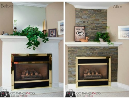 Stone fireplace surround