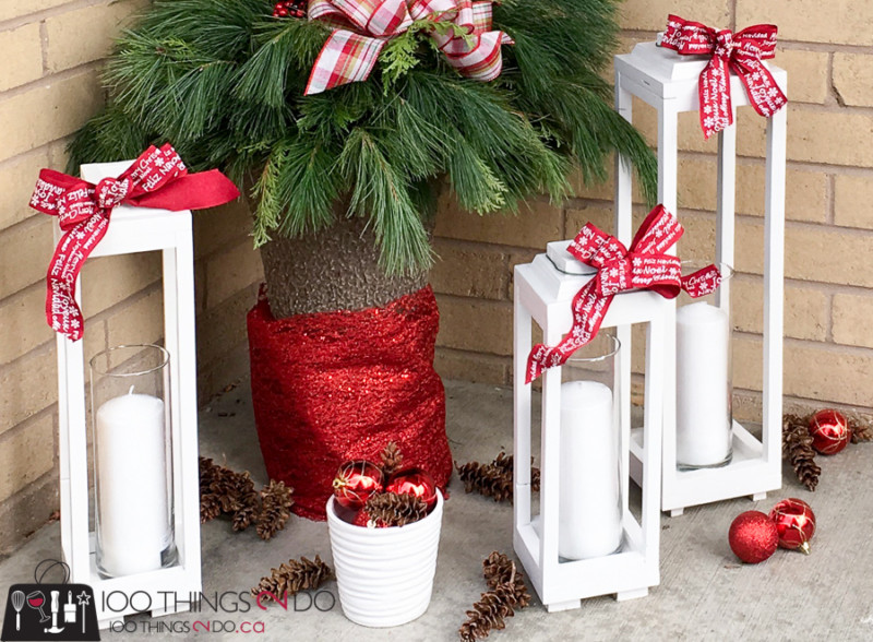 Make your own scrap wood lanterns, DIY rustic lanterns, white lanterns, Christmas lanterns
