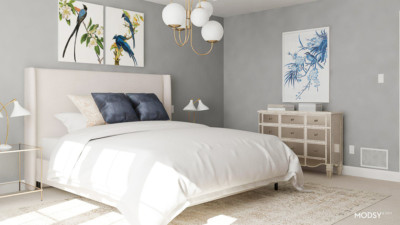 Affordable interior design, online interior design, master bedroom makeover, grey master bedroom, gray master bedroom, master bedroom and Modsy