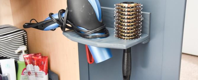 DIY hair dryer holder, in-cupboard hair dryer holder, hair dryer rack, hair dryer storage, bathroom cabinet organization
