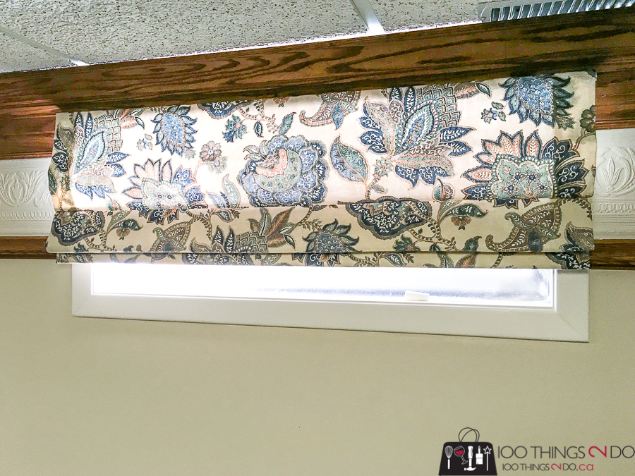 Basement blinds, Roman blinds, blinds for basement windows, One Room Challenge, Spring 2018 One Room Challenge, ORC 2018, Katherine, Sweet William Sewing Company, theatre room, roman blinds