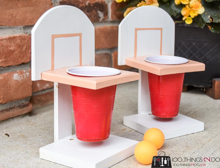 Beer Pong, Championship beer pong, basketball beer pong, summer fun, party games, scrap wood project, backyard games