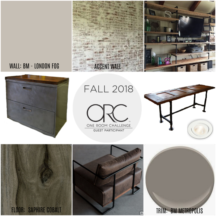 Basement office makeover, One Room Challenge Fall 2018, One Room Challenge, basement office