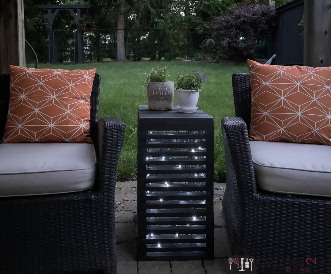 Patio side table, glowing patio table, patio table with lights, scrap wood side table