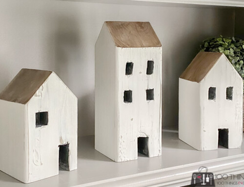 Rustic wood houses for inexpensive shelf decor